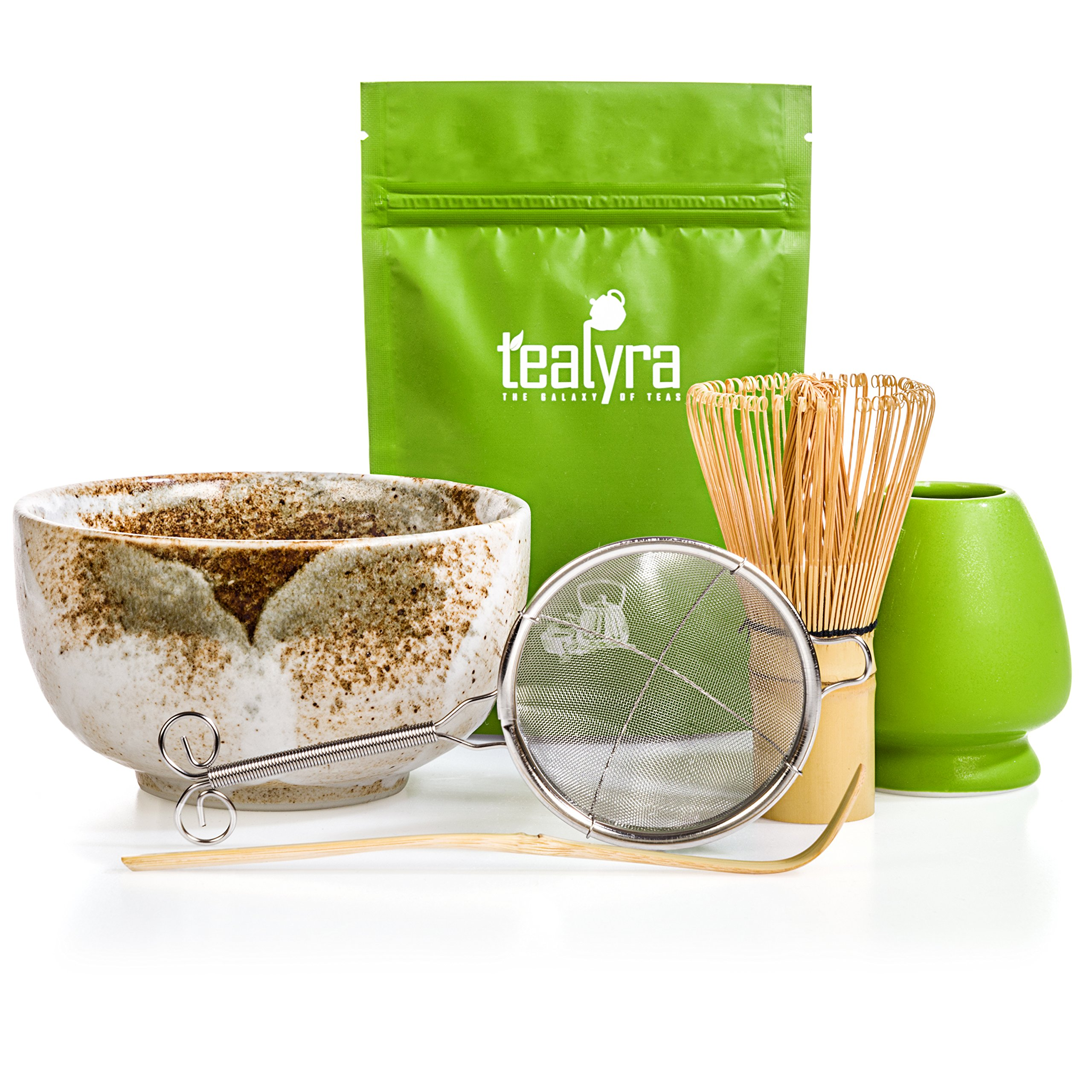Tealyra - Matcha Tea Ceremony Start Up Kit - Complete Matcha Green Tea Gift Set - Premium Matcha Powder - Japanese Made Beige Bowl - Bamboo Whisk and Scoop - Holder - Sifter - Gift Box by Tealyra