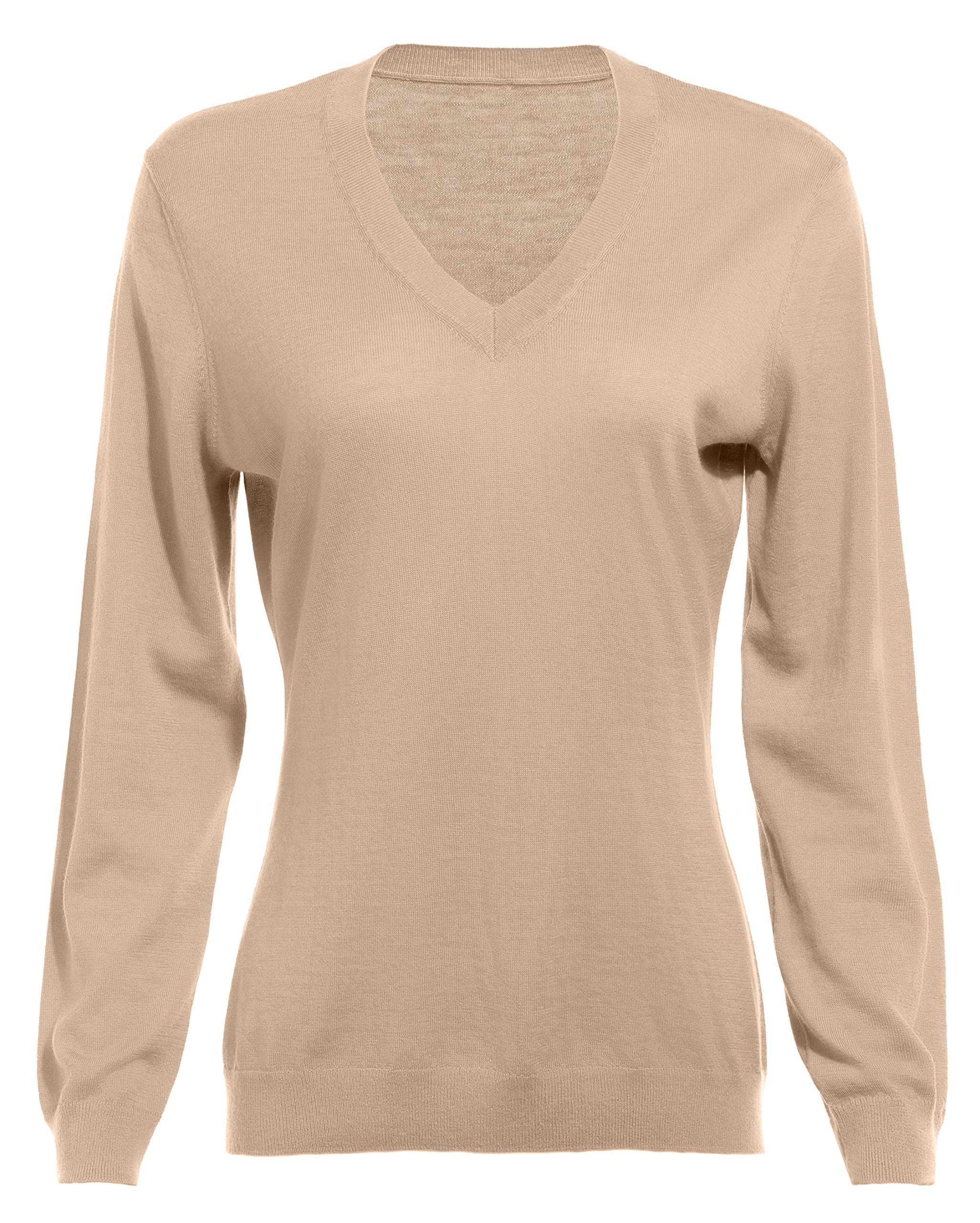 Women's Sweaters 100% Pure Original Cashmere V Neck Sweater Firm Fitting Tops