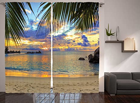 Wildlife Ocean Seashore Curtains For Bedroom Living Room Decorations Summer  Home Decor Beach With Palm Trees