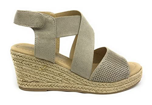 f3560049f75 City Classified Women s Perforated Peep Toe Criss Cross Espadrille Mid  Wedge Sandal (5.5 B(