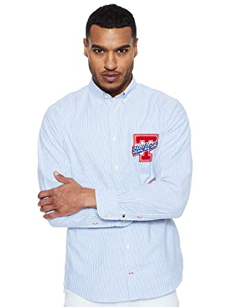 TOMMY HILFIGER Men - Stretch cotton badge shirt - Size M: Amazon ...
