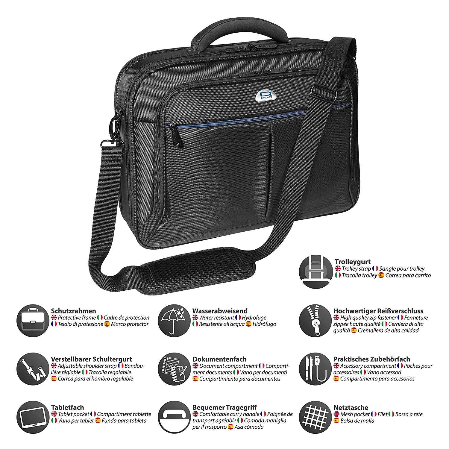 8a947935cf PEDEA Borsa per laptop 15,6 pollici (39,6 cm), nero con scomparto per  tablet: Amazon.it: Informatica