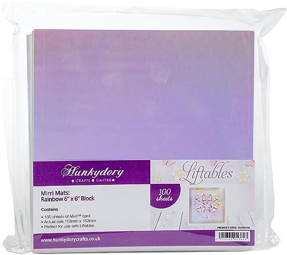 "Hunkydory Crafts 25 Sheets 270gsm RAINBOW MIRRI MATS 6/"" x 6/"" Mirri Card MCDM106"