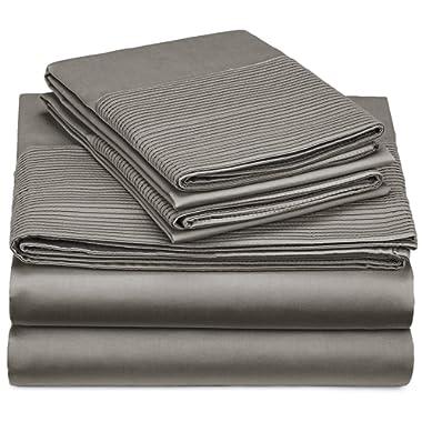 Pinzon 400-Thread-Count Egyptian Cotton Sateen Pleated Hem Sheet Set - Queen, Sterling