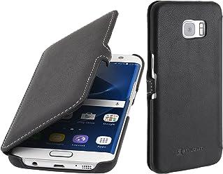 StilGut Book Type Case con Clip, Custodia in Pelle per Samsung Galaxy S7 Edge, Nero Nappa