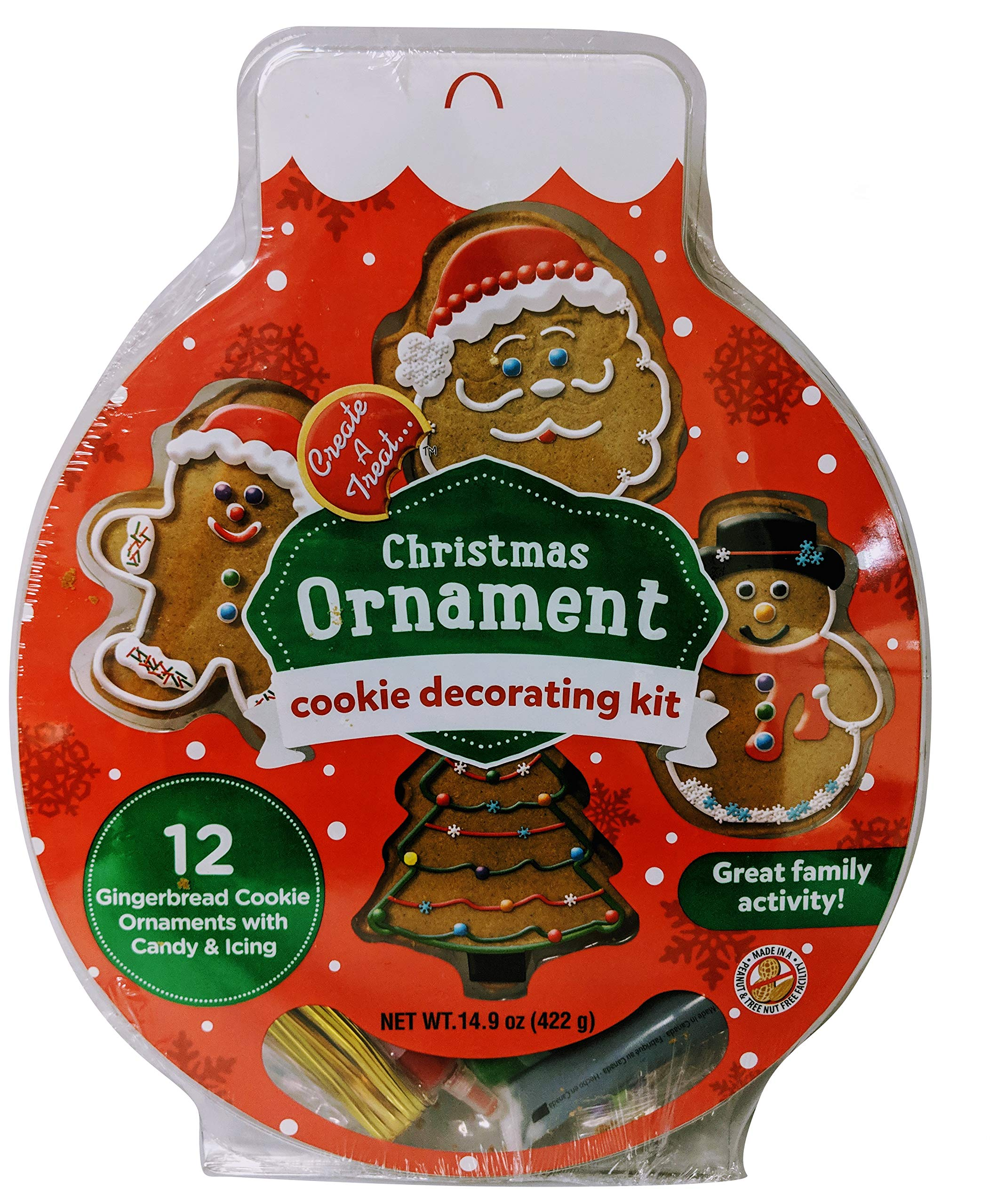 12 Piece Gingerbread Christmas Ornament Cookie Decorating Kit