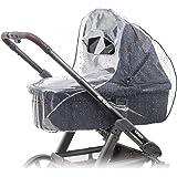 Universal Komfort Regenschutz für Kinderwagen / Babywannen (z.B. Hauck, Hartan, ABC-Design uvm.) | Gute Luftzirkulation, Sichtfenster mit Vordach, Schadstofffrei