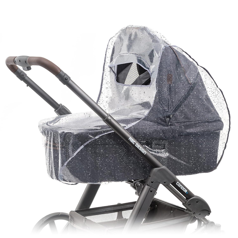 Protector de lluvia universal para cochecitos / capazos de bebé (p. ej. Bugaboo, Stokke, Jané, etc.) | Buena circulación de aire, ventana con visera,