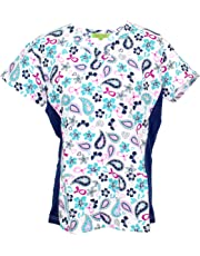 Green Town Scrubs Women's Medical Nursing Stretch Top Patterned Multi Pocket Uniform Shirt