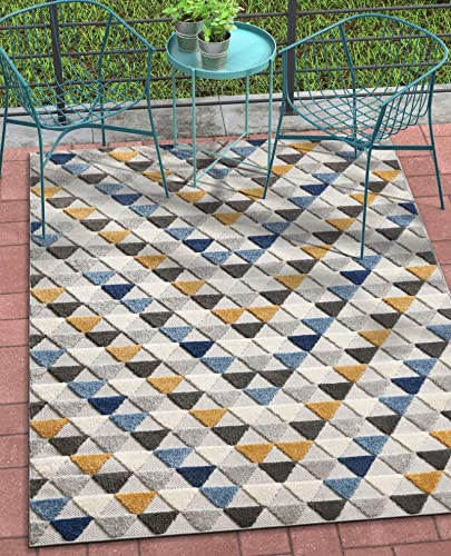 Well Woven Dorado Dream Blue Modern Trellis 7 10 x 9 10 High-Low Indoor Outdoor Area Rug