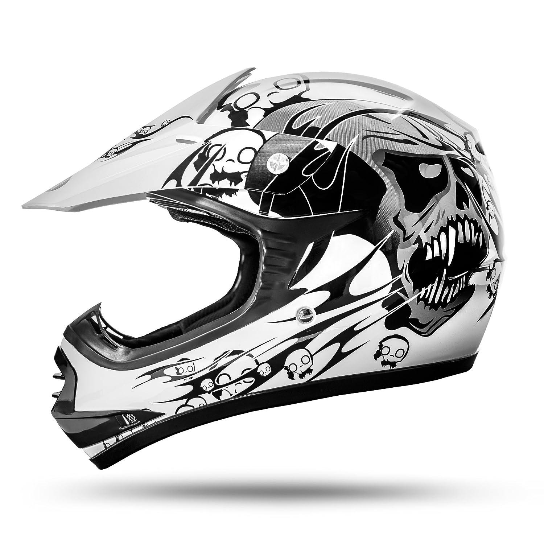 ATO-Moto Skulletti Weiß Größe Y-M 51/52cm Kinder Motocrosshelm mit neuster Sicherheitsnorm ECE 2205 ATO-Helme B07 Weiß M