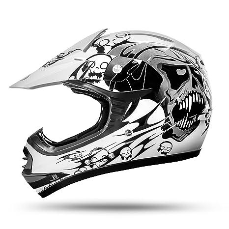 ATO-Moto Skulletti Weiß Größe Y-XL 55/56cm Kinder Motocrosshelm mit neuster Sicherheitsnorm ECE 2205
