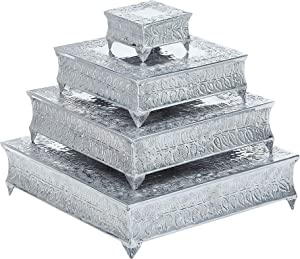 Shalimar Showroom Shalimar's Aluminium Wedding Cake Stand Intricately Designed Home Decor, 22 by 18 by 14 by 6-Inch, (Square Set of 4)