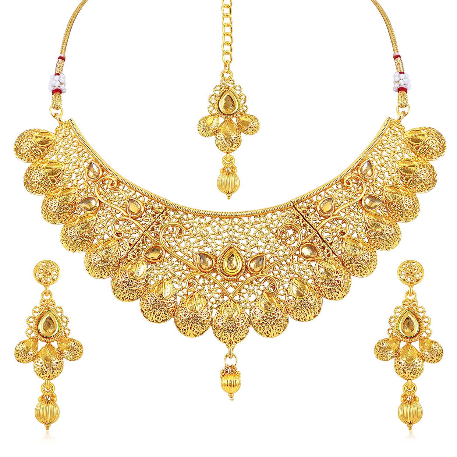 Sukkhi Traditional Gold Plated Wedding Jewellery Choker Necklace Set For Women