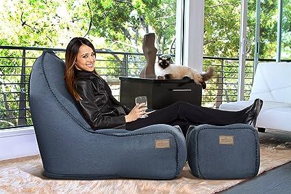 Magnificent Amazon Com American Furniture Alliance 16850 Bean Bag Denim Short Links Chair Design For Home Short Linksinfo