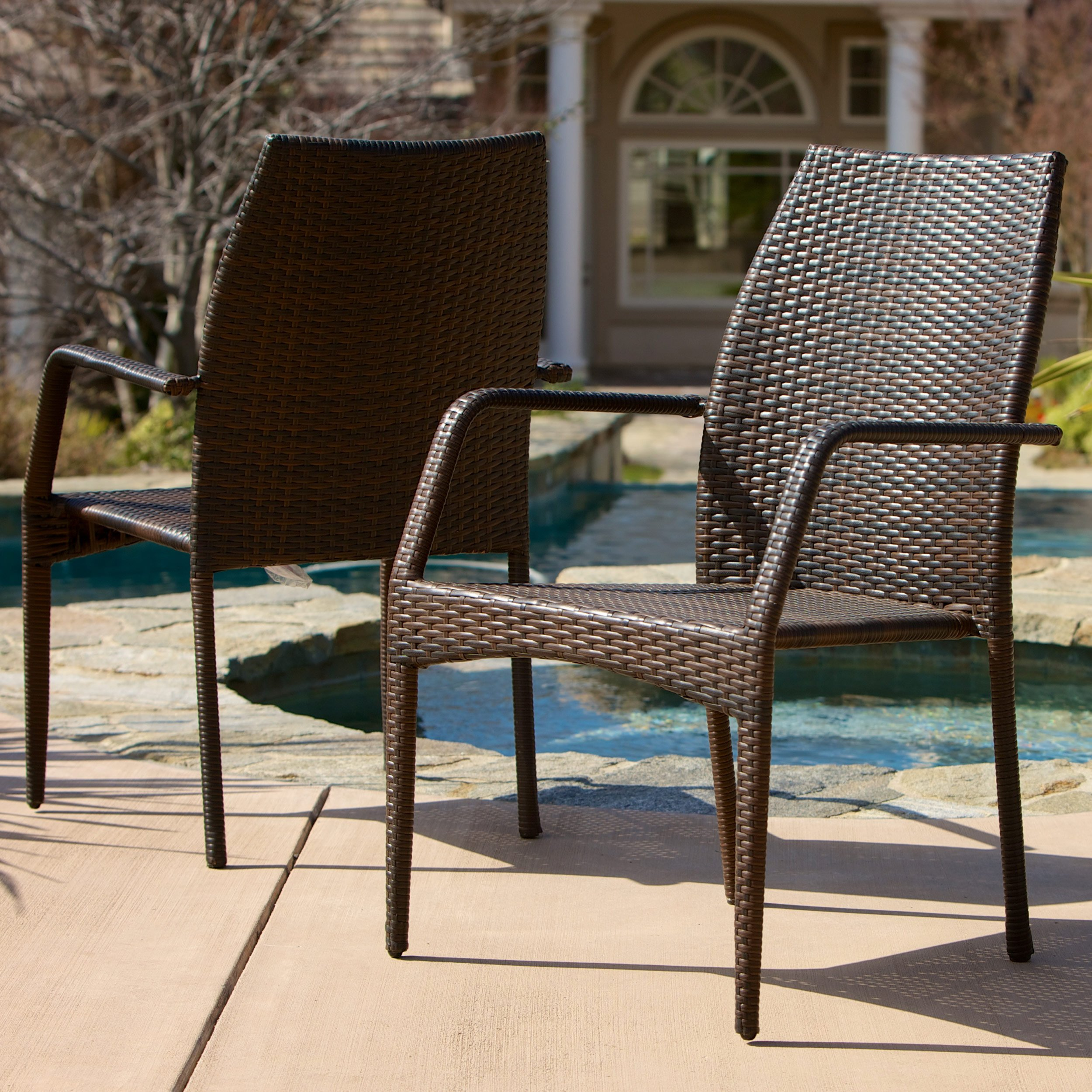 Christopher Knight Home Outdoor Wicker Stacking Chairs | Set of 2 | Perfect for Patio | in Multibrown by Christopher Knight Home