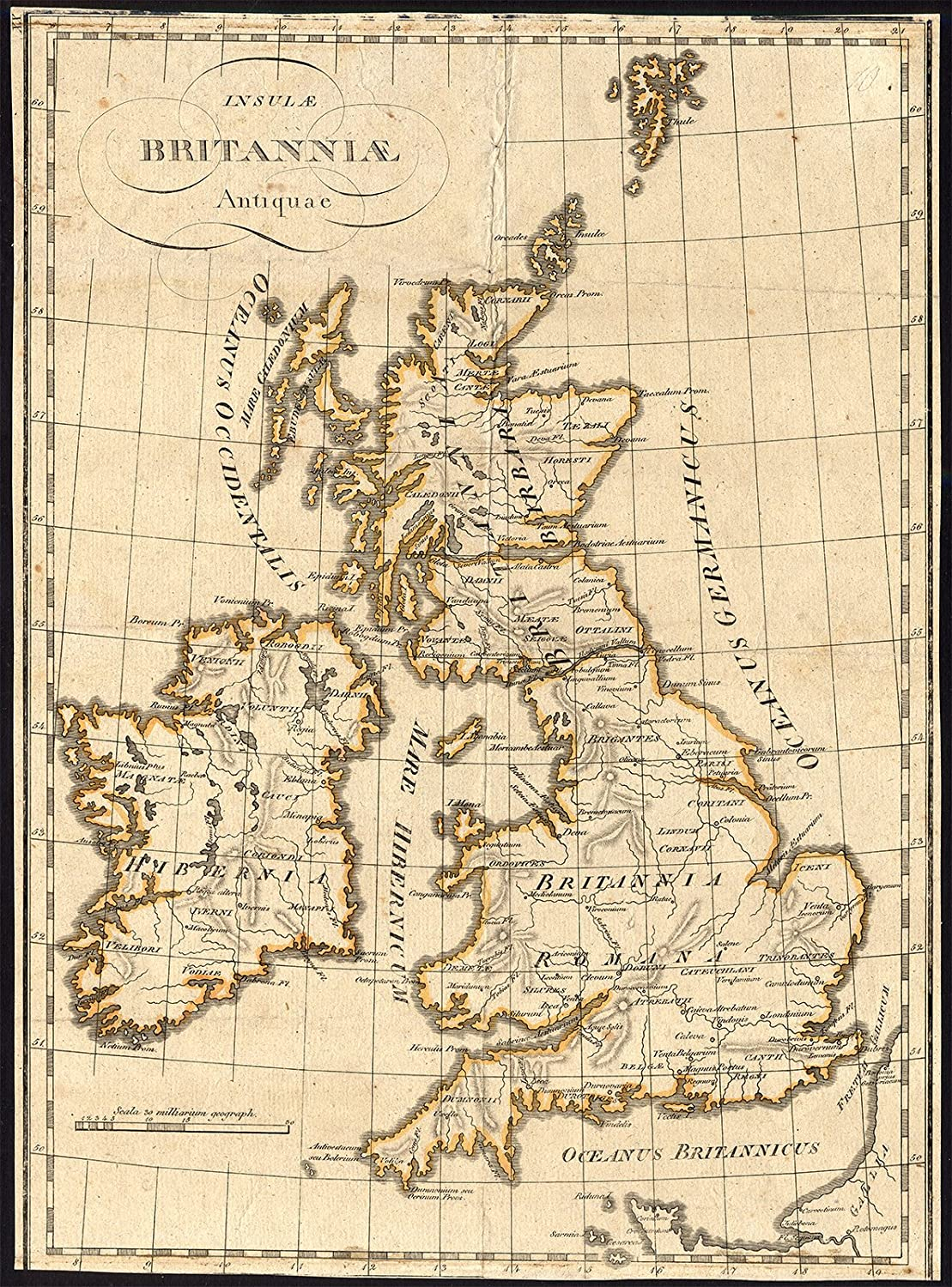 Map Of England 1800.Antique Map Historic Great Britain Ireland England Roman Times 1800
