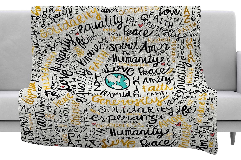 Kess InHouse Pom Graphic Design Positive Messages Black Gold Illustration Throw 60 x 40 Fleece Blankets