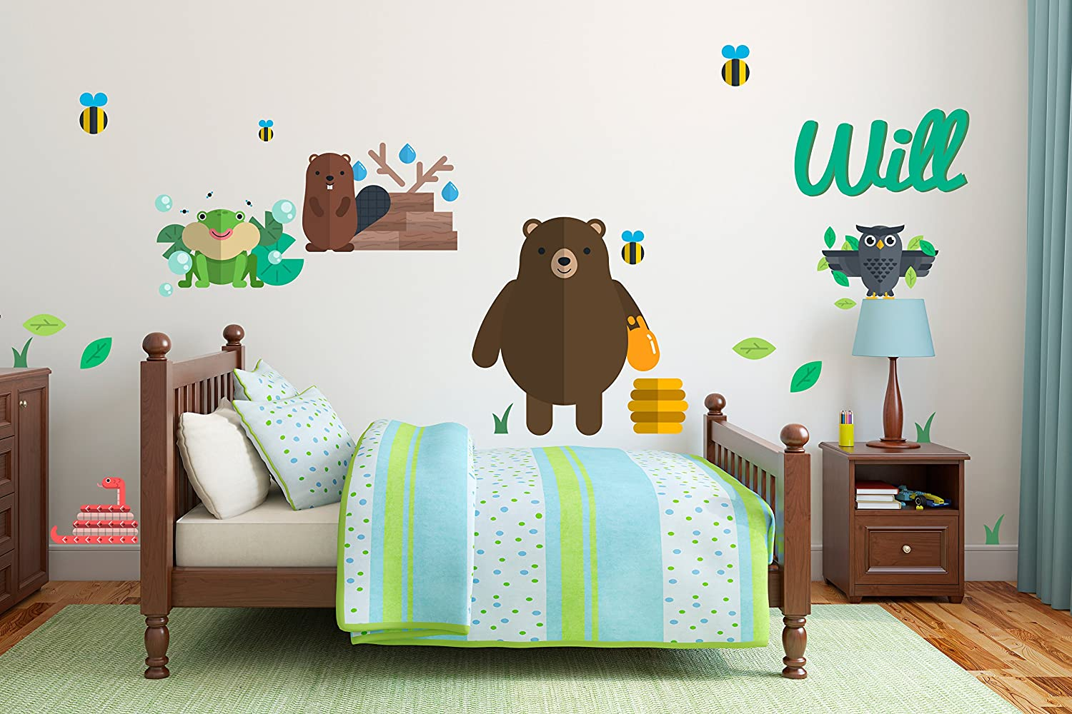 Personalized animals bear bee honey owl snake mole boy girl unisex decoration mural wall decal sticker for home interior decoration car laptop wide 57