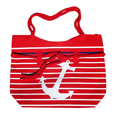 SALE Best Red Anchor Canvas Top Nautical Theme Tote Bag Zipper Rope Handle Beach Boat