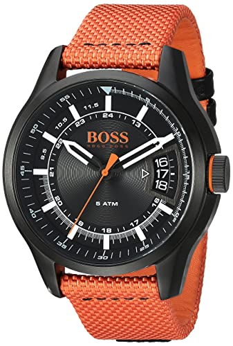 HUGO BOSS Men s HONG KONG SPORT Quartz Resin and Nylon Casual Watch, Color Orange Model 1550001