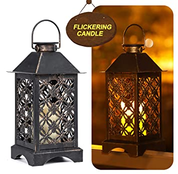 Lámpara solar exterior de bronce trébol de 4 hojas | Lámpara solar de jardín de metal antiguo | Lámpara solar colgante interiores o exteriores o ...