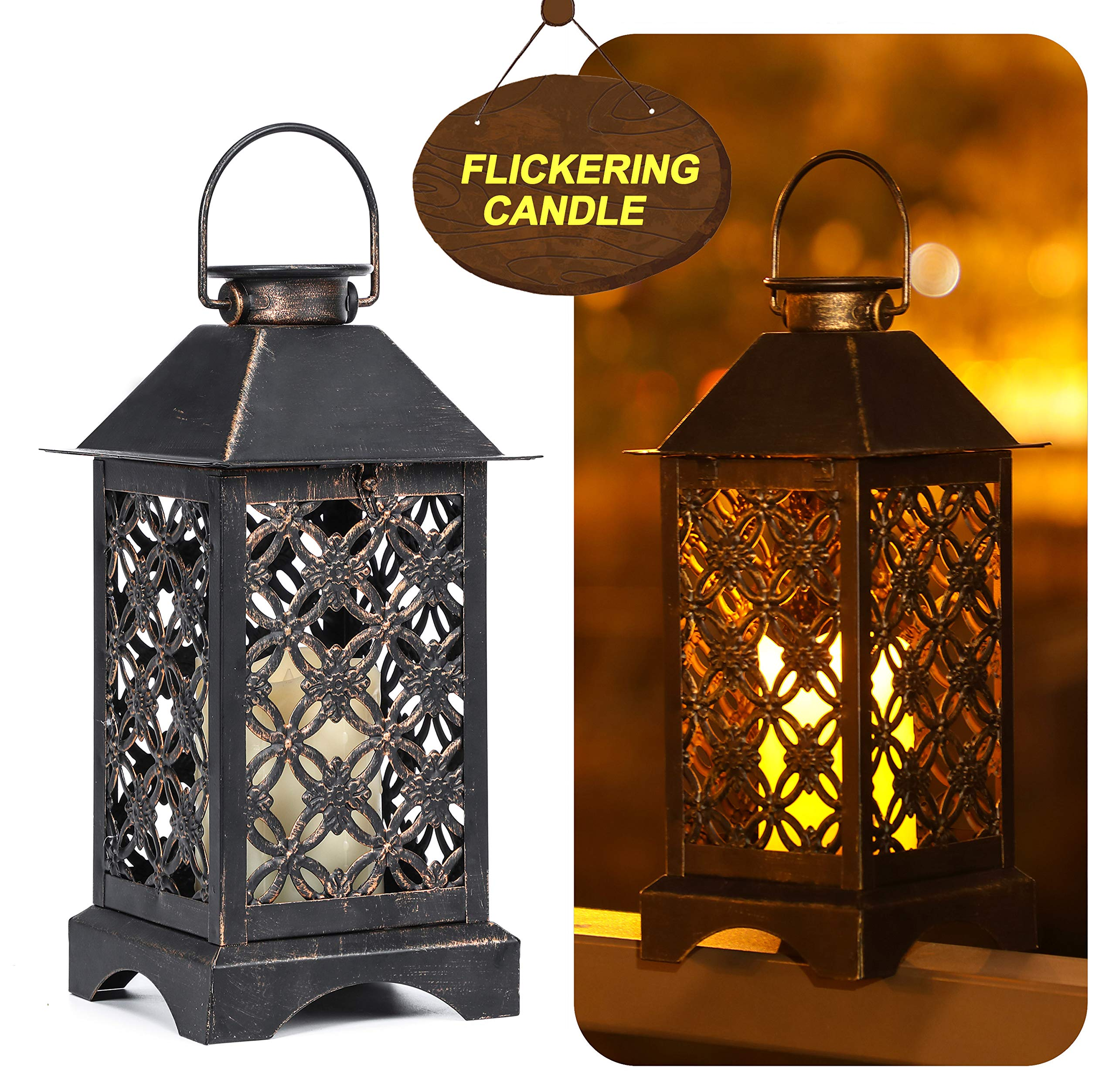 Solar Lantern Indoor or Outdoor 4LeafClover Bronze | Antique Metal Construction | Solar Powered Hanging Lantern or Tabletop with LED Flickering Candle 5.5 x 5.5 x 11 inches