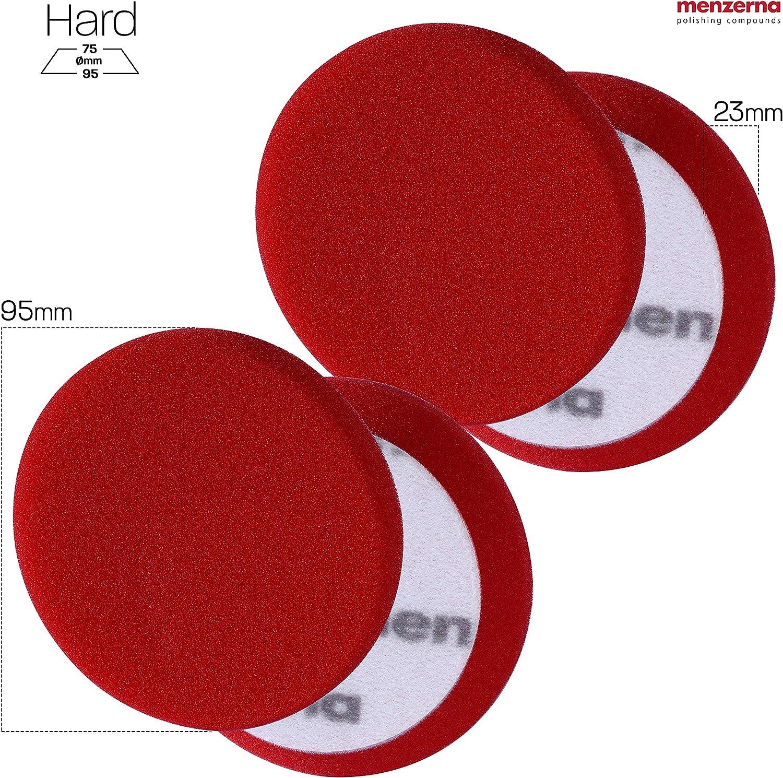Detailmate Menzerna Heavy Cut Foam Pad Polierschwamm Hart Premium 95 Mm 3 5 Rot 2 Stück 1 Nitril Schutzhandschuh Auto