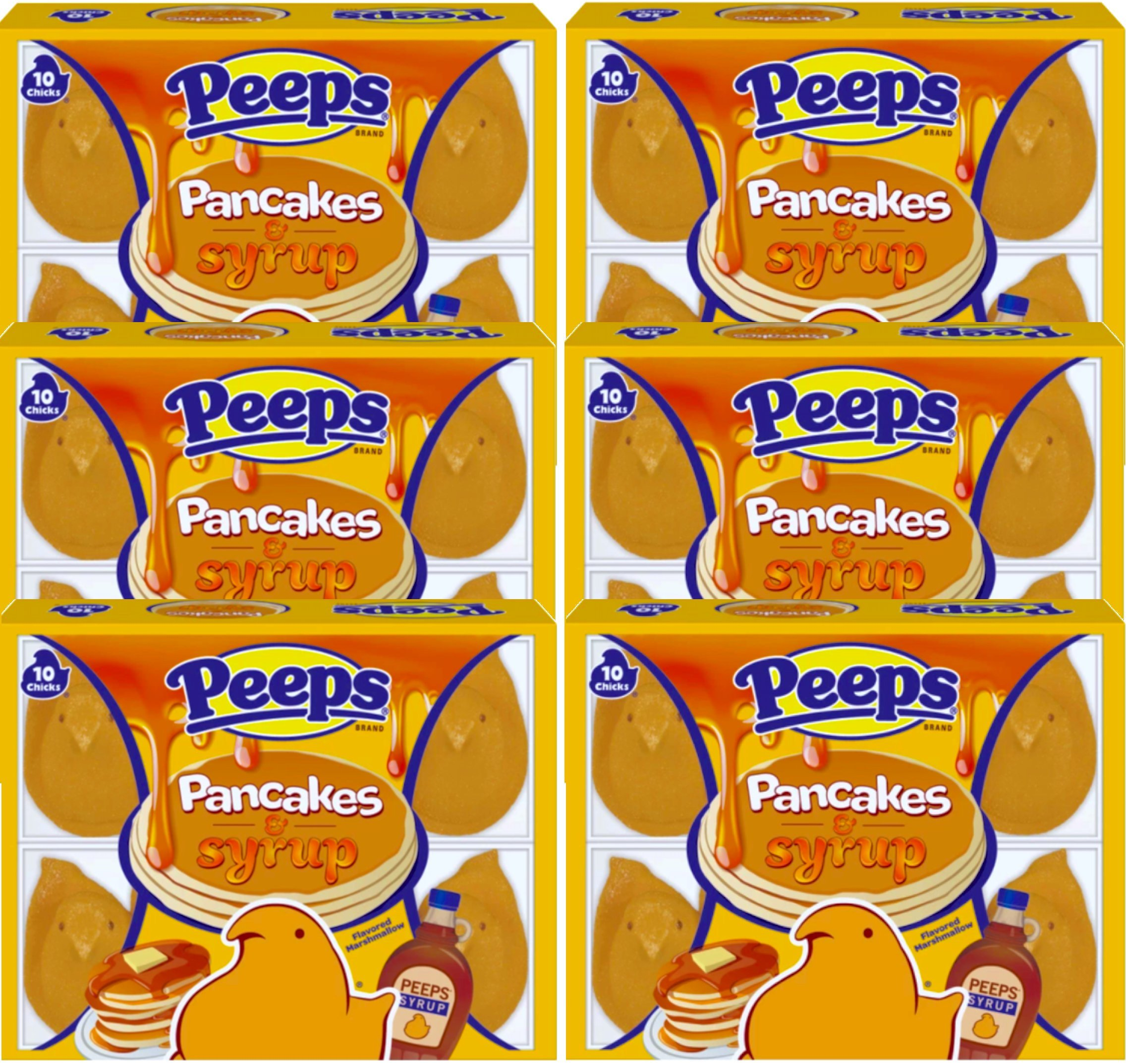 NEW Peeps Pancakes & Syrup Marshmallow Chicks Net Wt 3 Oz (6)