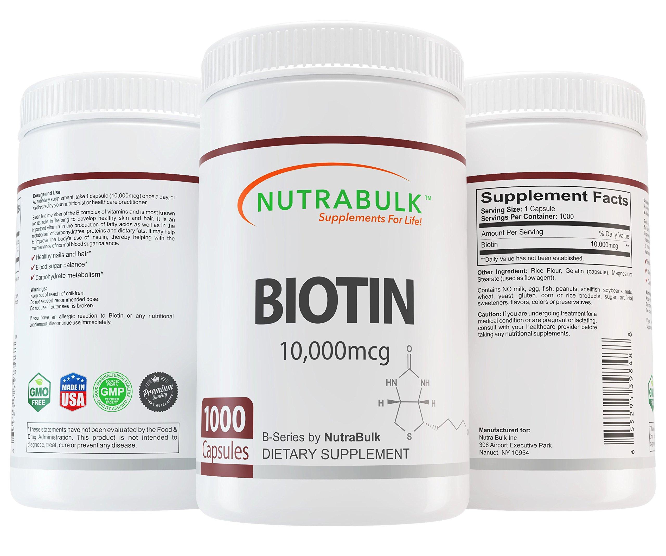 NutraBulk Biotin 10,000 Mcg 1000 Count