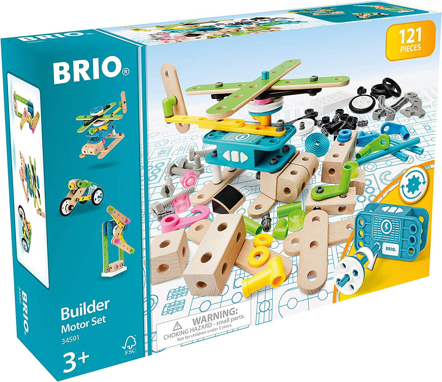 BRIO Builder 34591 - Builder Motor Set - 120 Piece Construction Set STEM Toy with Wood and Plastic Pieces and a Motor for Kids Age 3 and Up