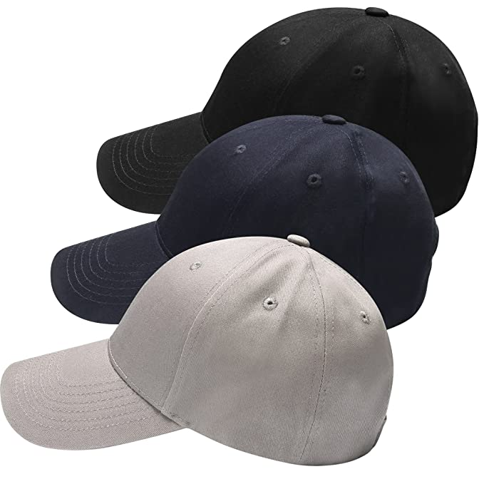 0bdb81be39ec7 HBY 3 Pack Classic Plain Baseball Cap Dad Hat Cotton Adjustable Size ...