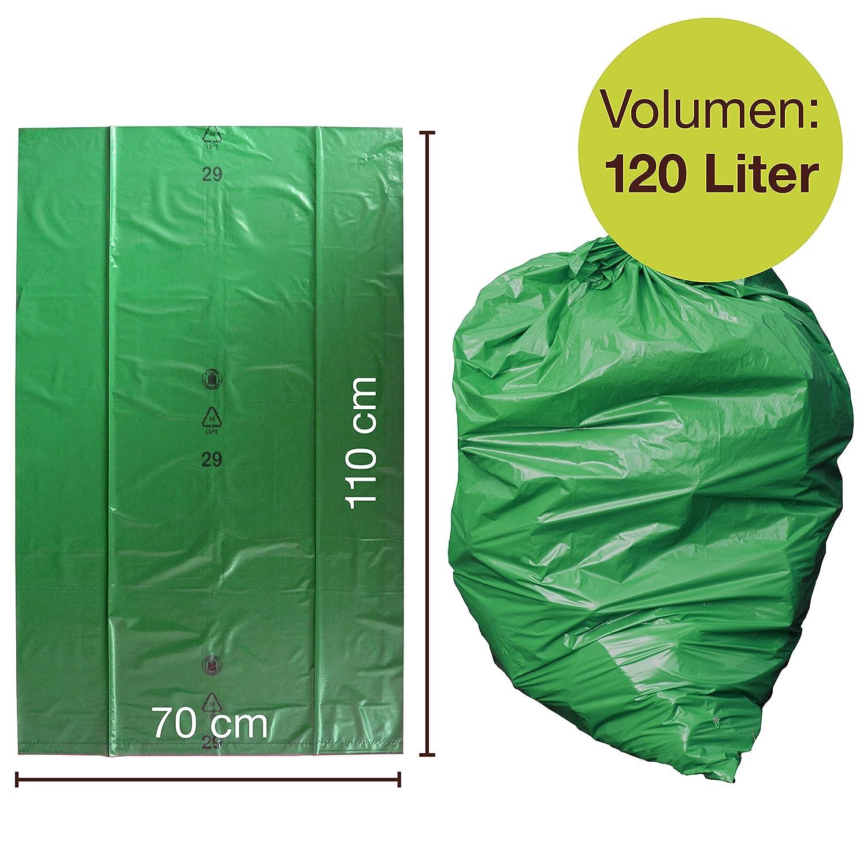 Gran Resistencia al desgarro Tipo 100 Extra 70 ? LDPE 700 x 1.100 mm Rollo de 25 ProfessionalTree Bolsas de Basura 120 l Sacos de Basura XXL Bolsas de Basura Verde