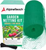 AlpineReach Garden Netting Kit 7.5 x 65 Feet Green Woven Mesh - Extra Heavy Duty Protect Plants Fruits Flowers Trees…