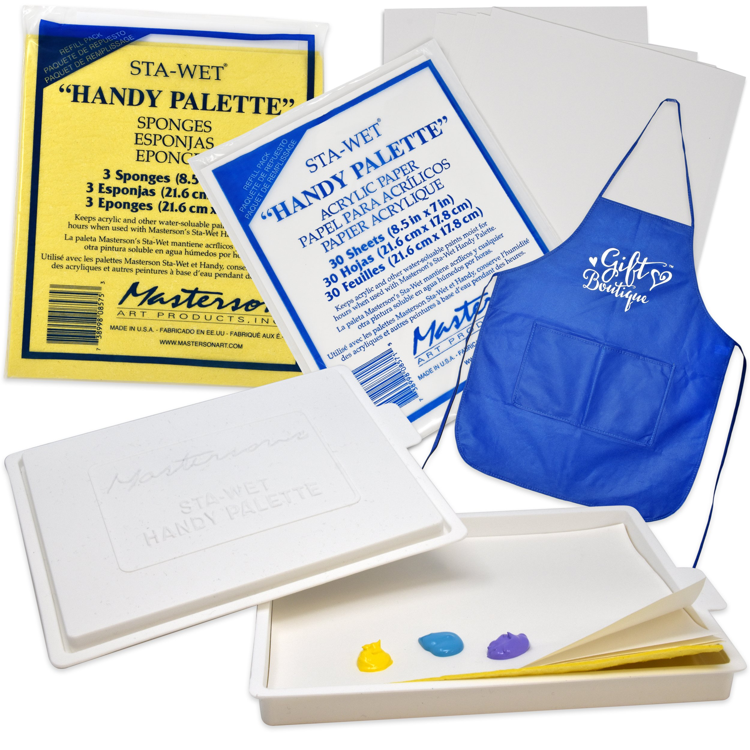Masterson Sta-Wet Palette with Airtight Lid Keeps Paint Wet Fresh for Days, with Pack of 30 Acrylic Paper 8 1/2 in. x 7 in, and Pack of 3 Handy Palette Sponges + Bonus Gift Boutique Artist Full Apron by Masterson