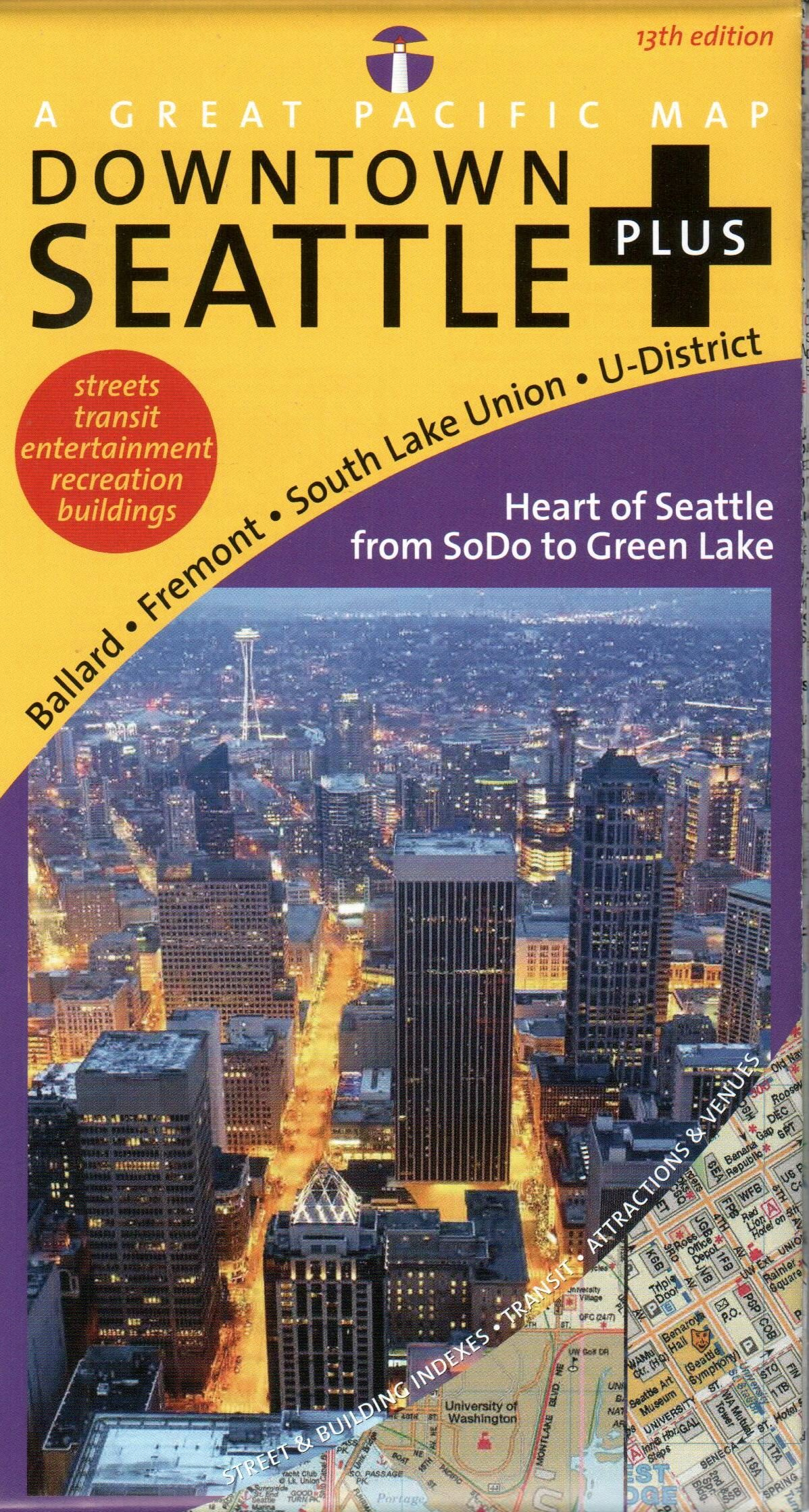 Seattle Map (Seattle Downtown Plus Road, Recreation & Transit Map ...