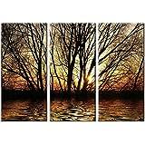 Picture Sensations Framed Huge 3-Panel Art Sunshine Rays Sun Tree Giclee Canvas Art