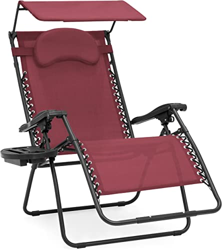 Best Choice Products Oversized Steel Mesh Zero Gravity Reclining Lounge Patio Chair w Folding Canopy Shade and Cup Holder, Red