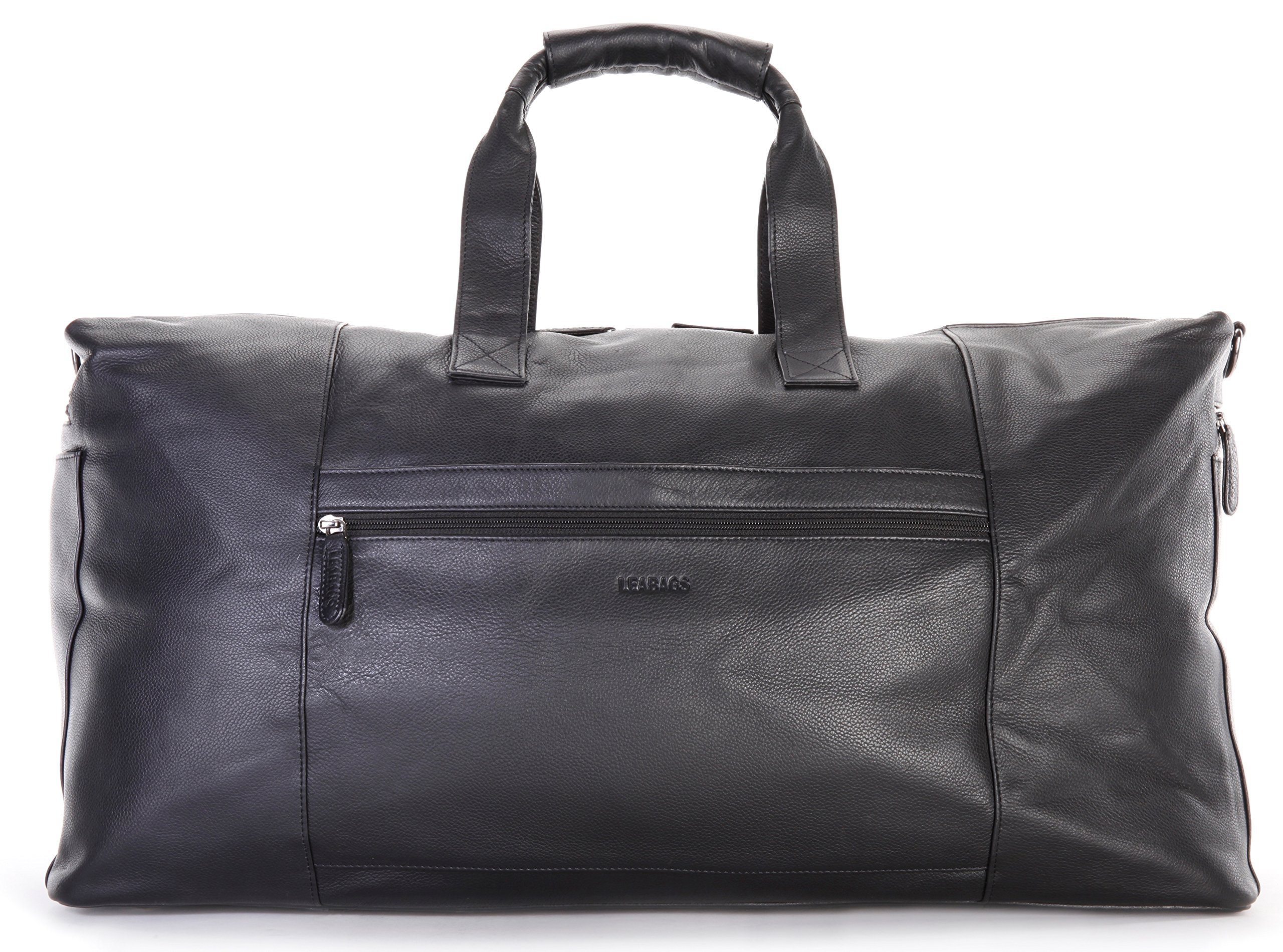 LEABAGS Sydney genuine buffalo leather duffle bag in vintage style - OnyxBlack