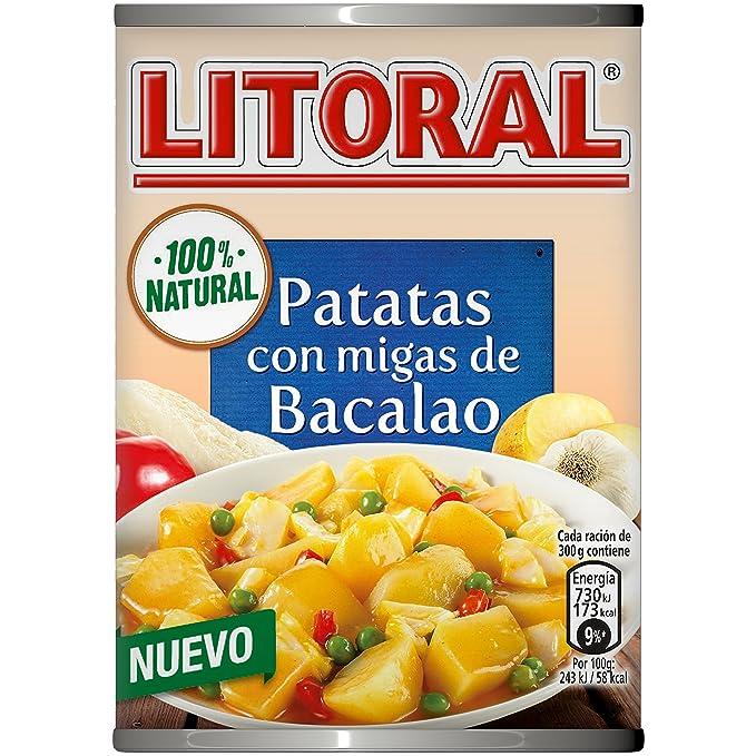 LITORAL Guiso de Patatas con migas de Bacalao - Plato Preparado de Guiso de patatas Sin
