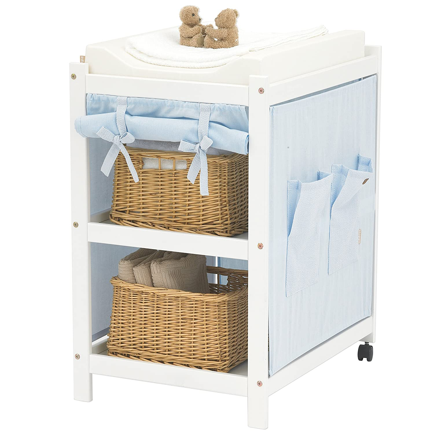Hoppekids Partly Solid with 2 Wheels on The Rear shelfposts/Including Light Pink Textiles and Changing mat, Wood, White, 56x73x84 cm