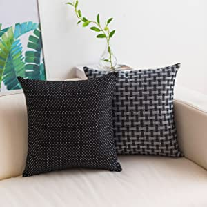 Home Brilliant Decorative Throw Pillow Covers Square Pillowcases Cushion Covers for Pouch Couch Sofa Living Room, 18x18 Inches 45 cm, Black White