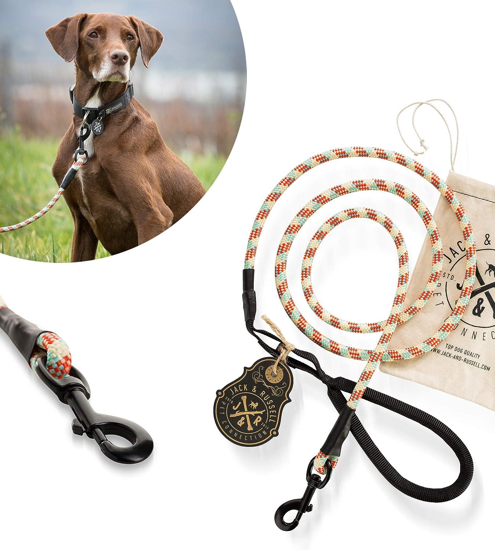 Jack & Russell Correa para Perro Premium Tajo de Cuerda para Escalar mosquetón de Perno - Correa para Perro con Lazo de Mano de Agarre Suave Incl. ...