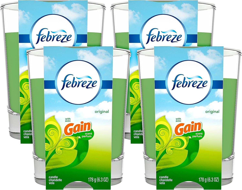 Febreze Scented Air Freshener Candle, Gain Original, 6.3 Oz, 4 Count