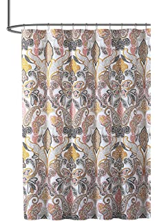 VCNY Home Fabric Shower Curtain Bold Colorful Paisley Leaf Design In Butterfly Composition