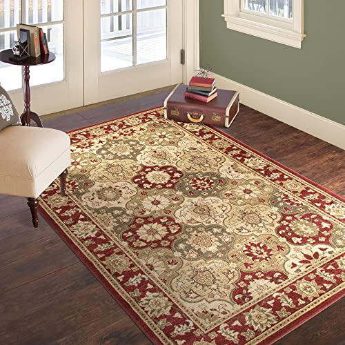 Lavish Home Vintage Round Patchwork Rug, 8 x 10 , Red