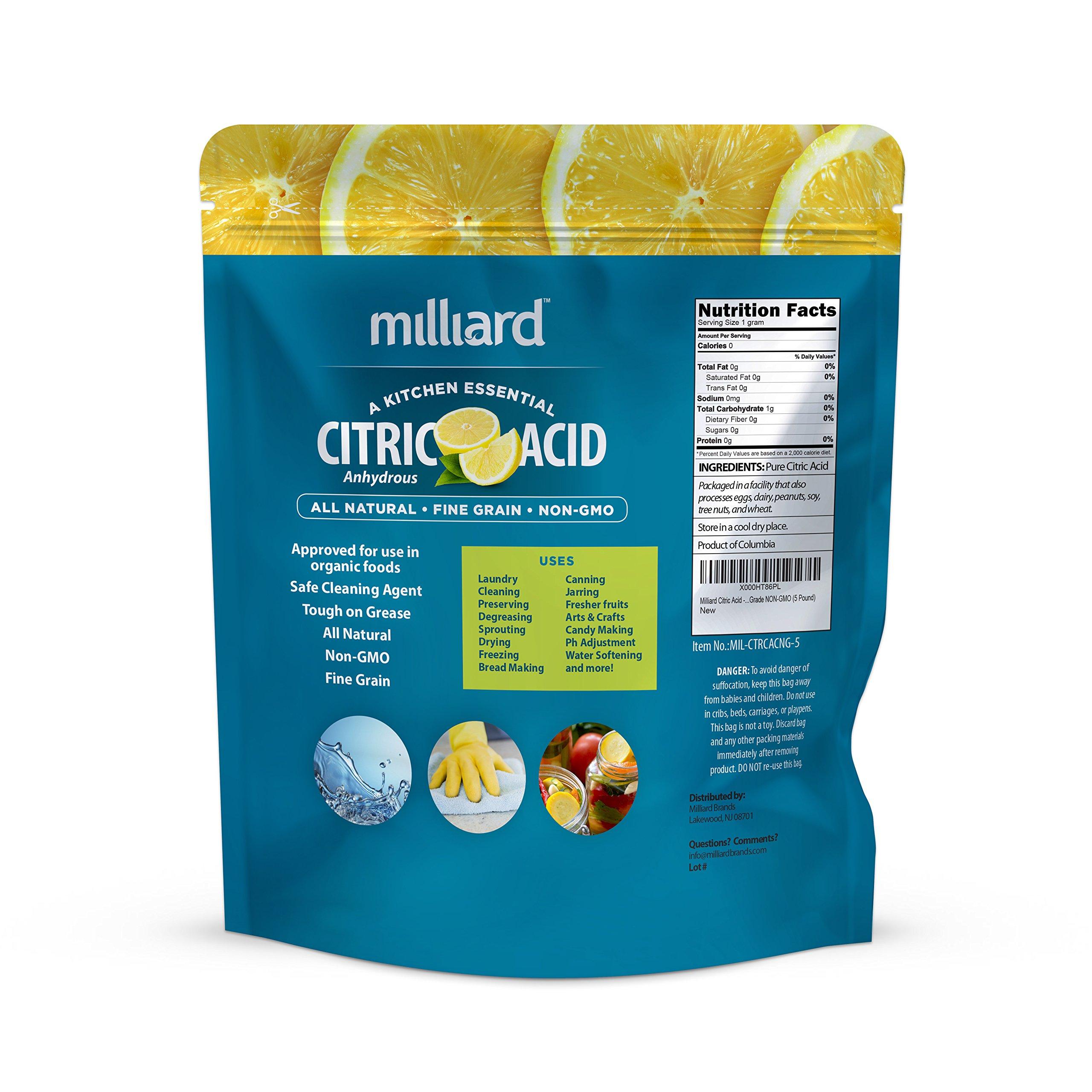 Milliard Citric Acid 5 Pound - 100% Pure Food Grade NON-GMO Project VERIFIED (5 Pound) by Milliard (Image #2)
