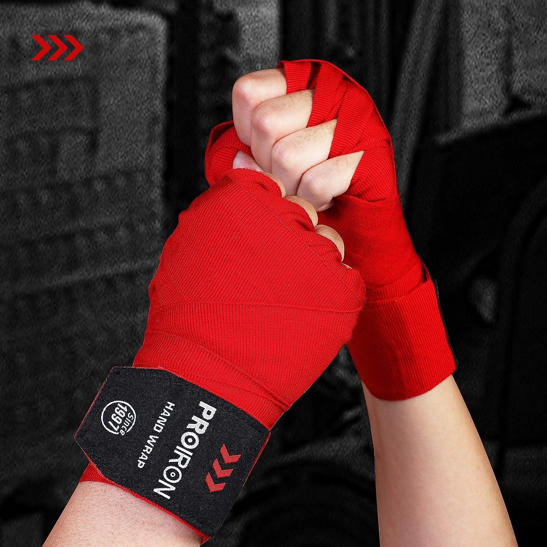 PROIRON Boxbandagen mit Daumenschlaufe Bandagen Boxen Halb Elastische Boxing Gloves mit Extra Breitem Klettverschluss Boxbandage Hand f/ür Boxen MMA Kickboxen Box Bandage Sport 4.5M 2.5M