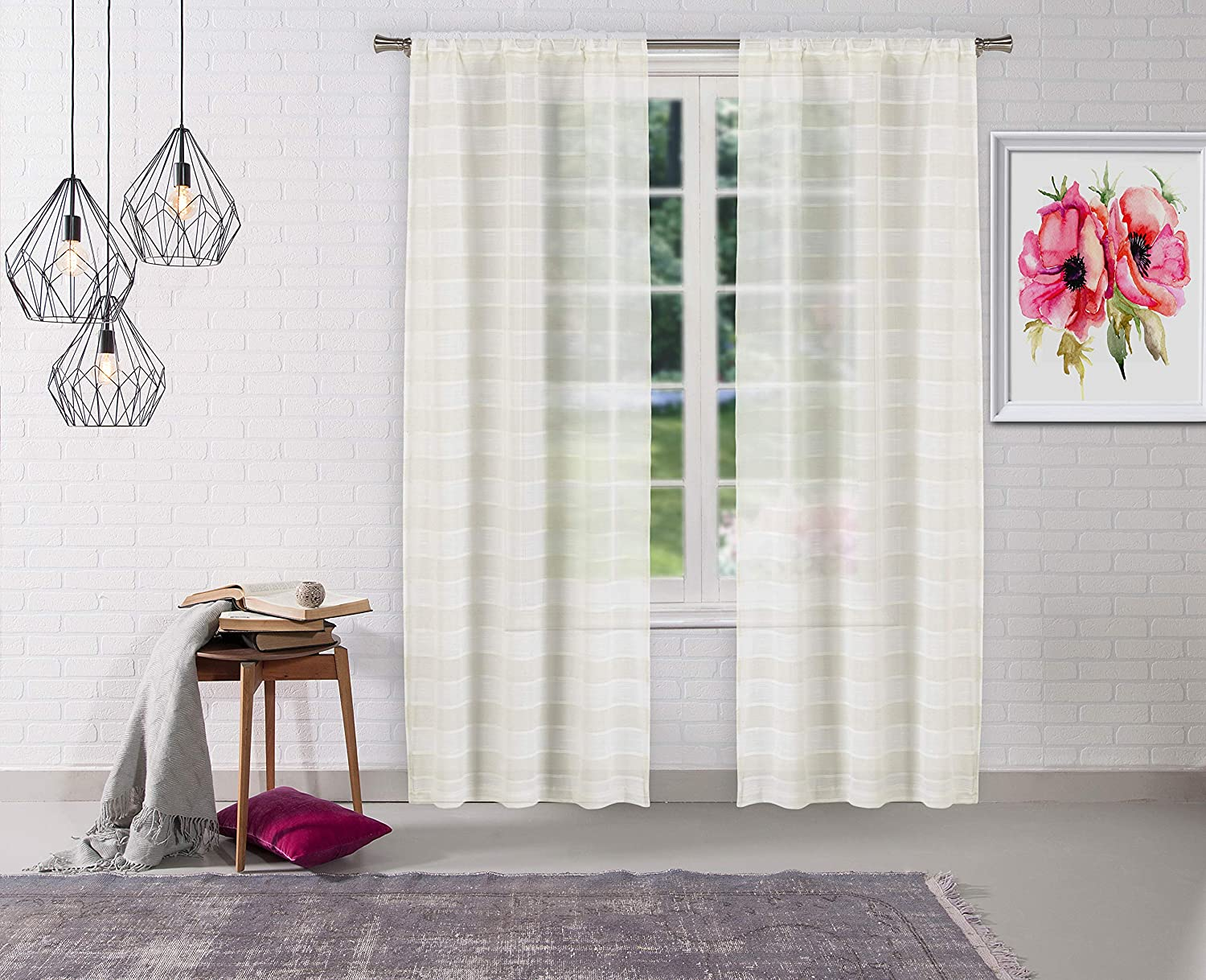 Home Maison Dakota Stripe Window Curtain, 37x96 (2 Pieces), Linen