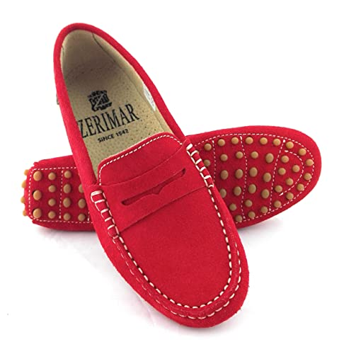 Zerimar Mocasines Para Mujer Estilo Casual Piel Cómodos y Flexibles Color Rojo Talla 37: Amazon.es: Zapatos y complementos